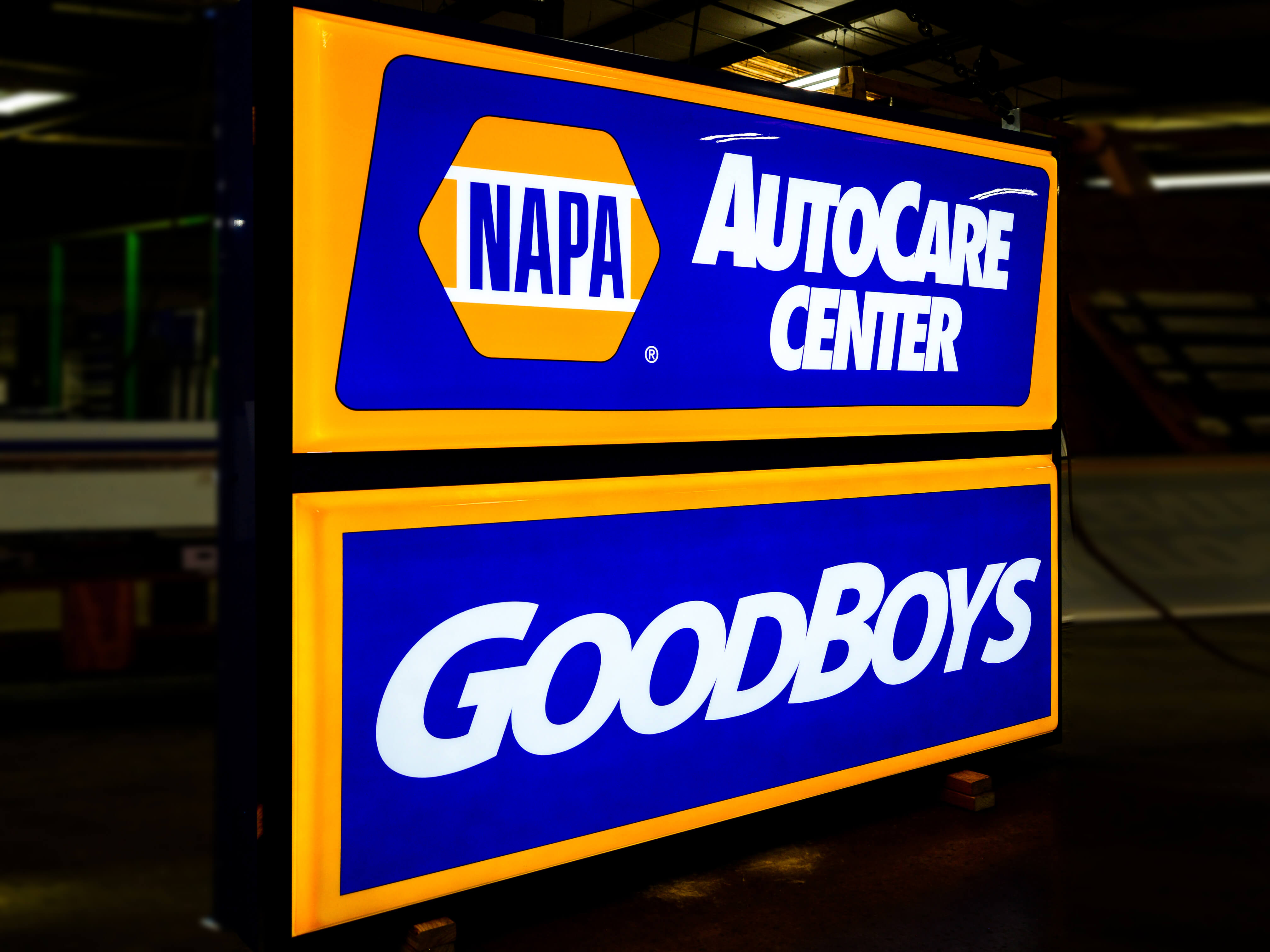 One of several Napa Auto Care signs made for their partnership network.