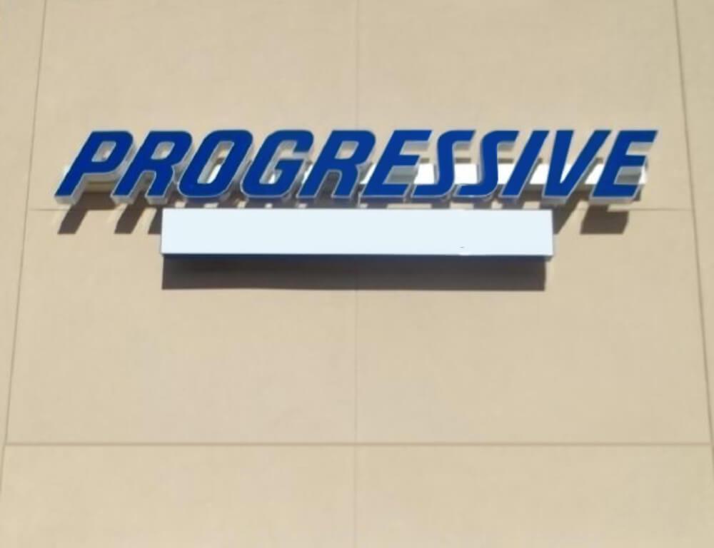 Progressive insurance channel letter sign with custom franchise names.
