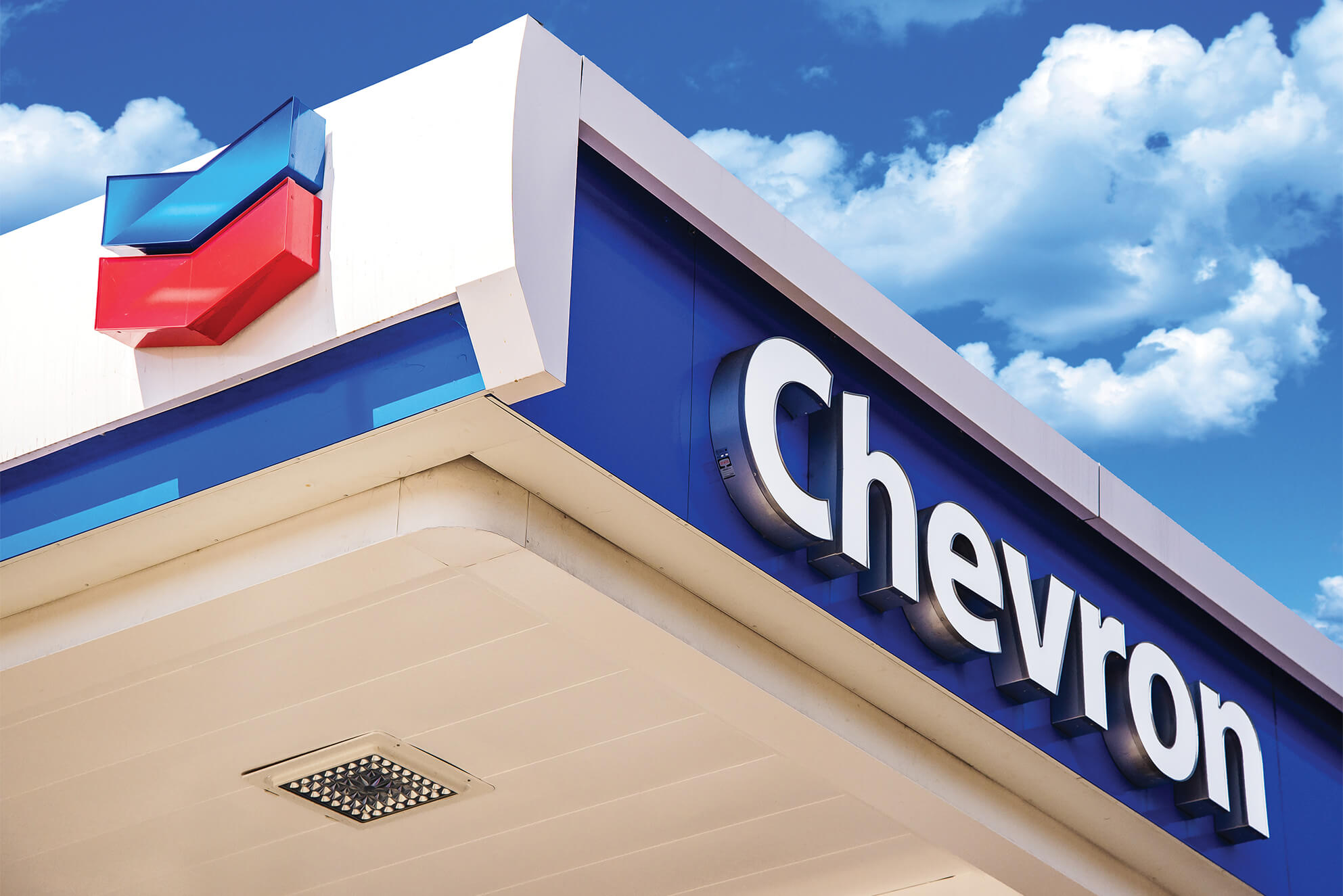 Canopy signage made for one of several Chevron locations.