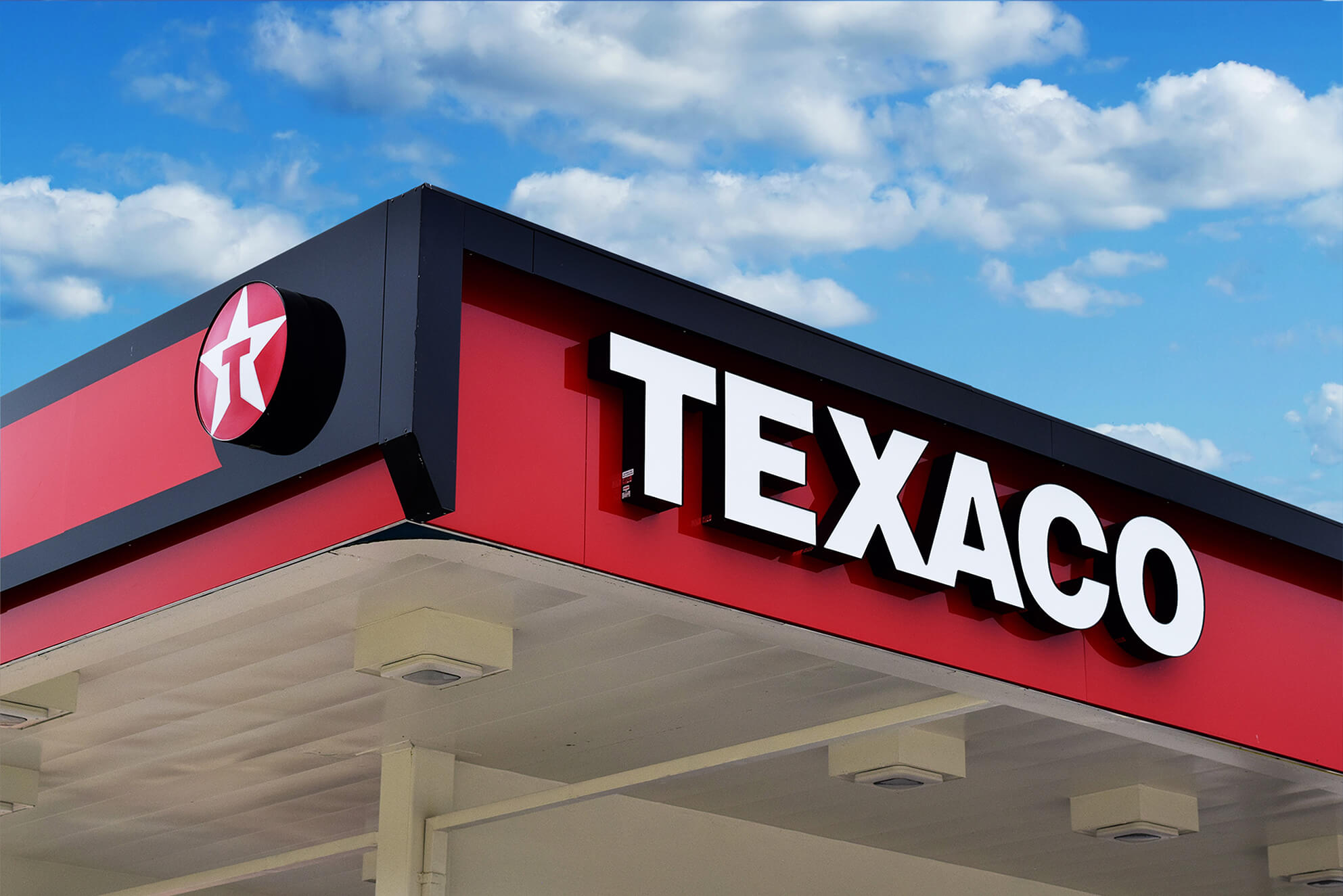 Canopy signage made for one of several Texaco locations.