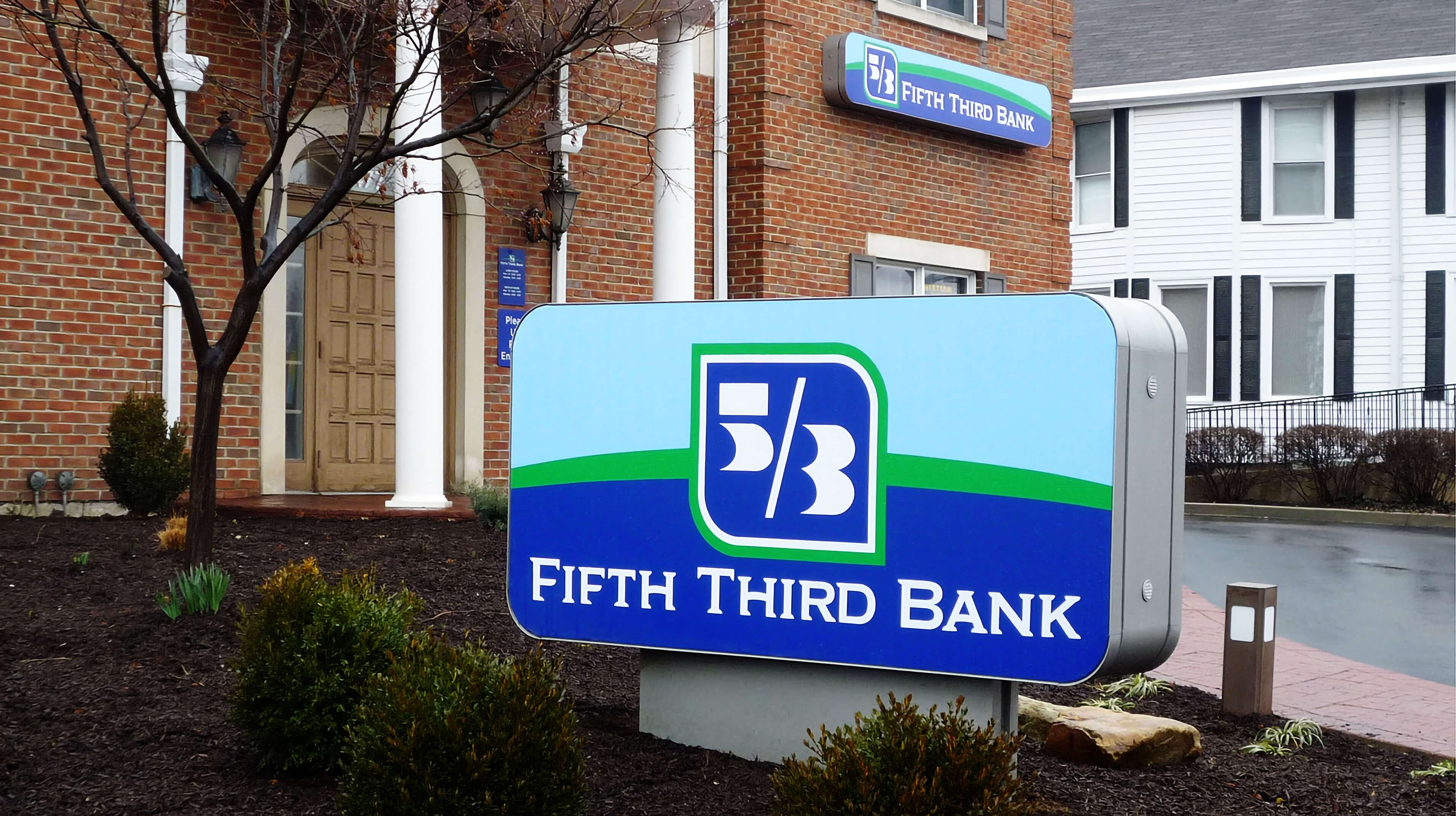 Signage package including a monument sign and wall signage for Fifth Third Bank.