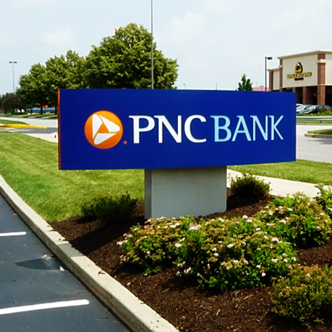 A neat monument sign custom made for PNC Bank.