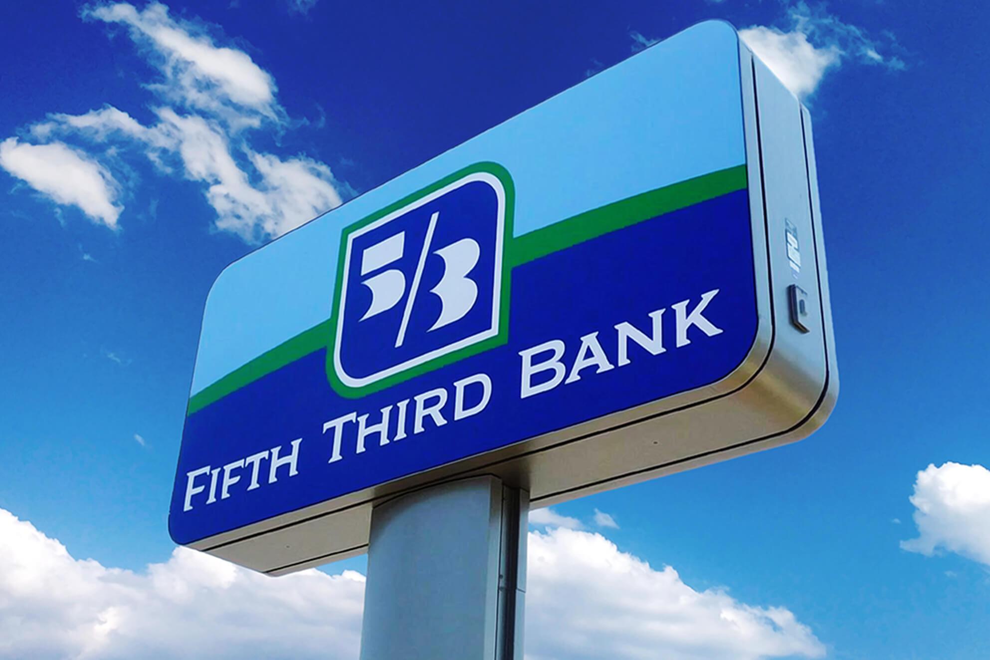 A unique Pylon sign custom made for Fifth Third Bank.