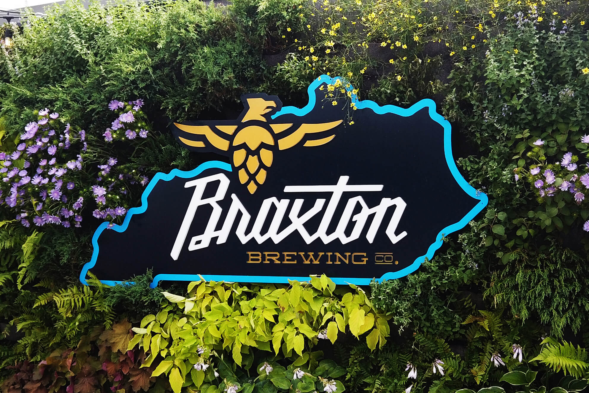 A custom order for a popular local brewery installed on a live wall.