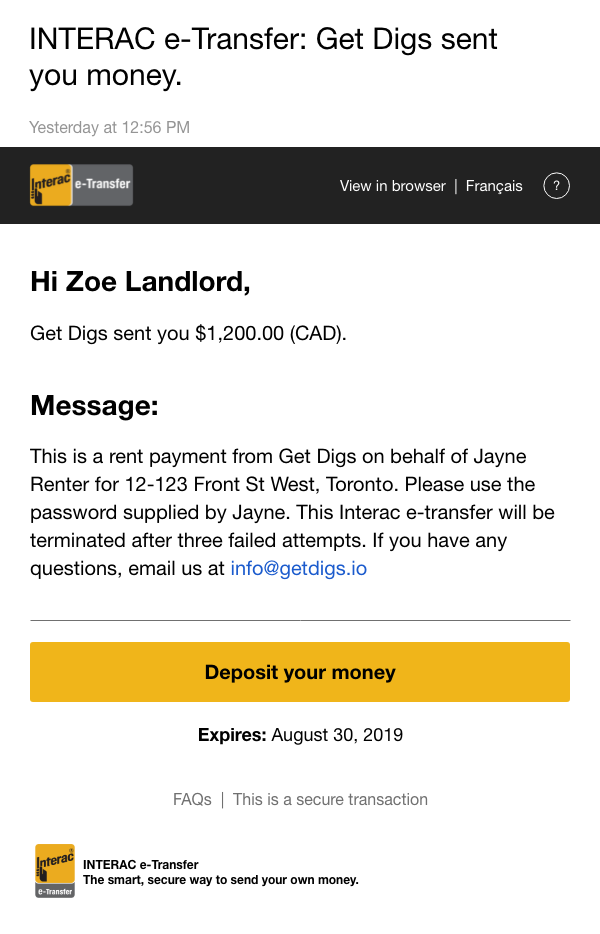 example of Get Digs e-Transfer email