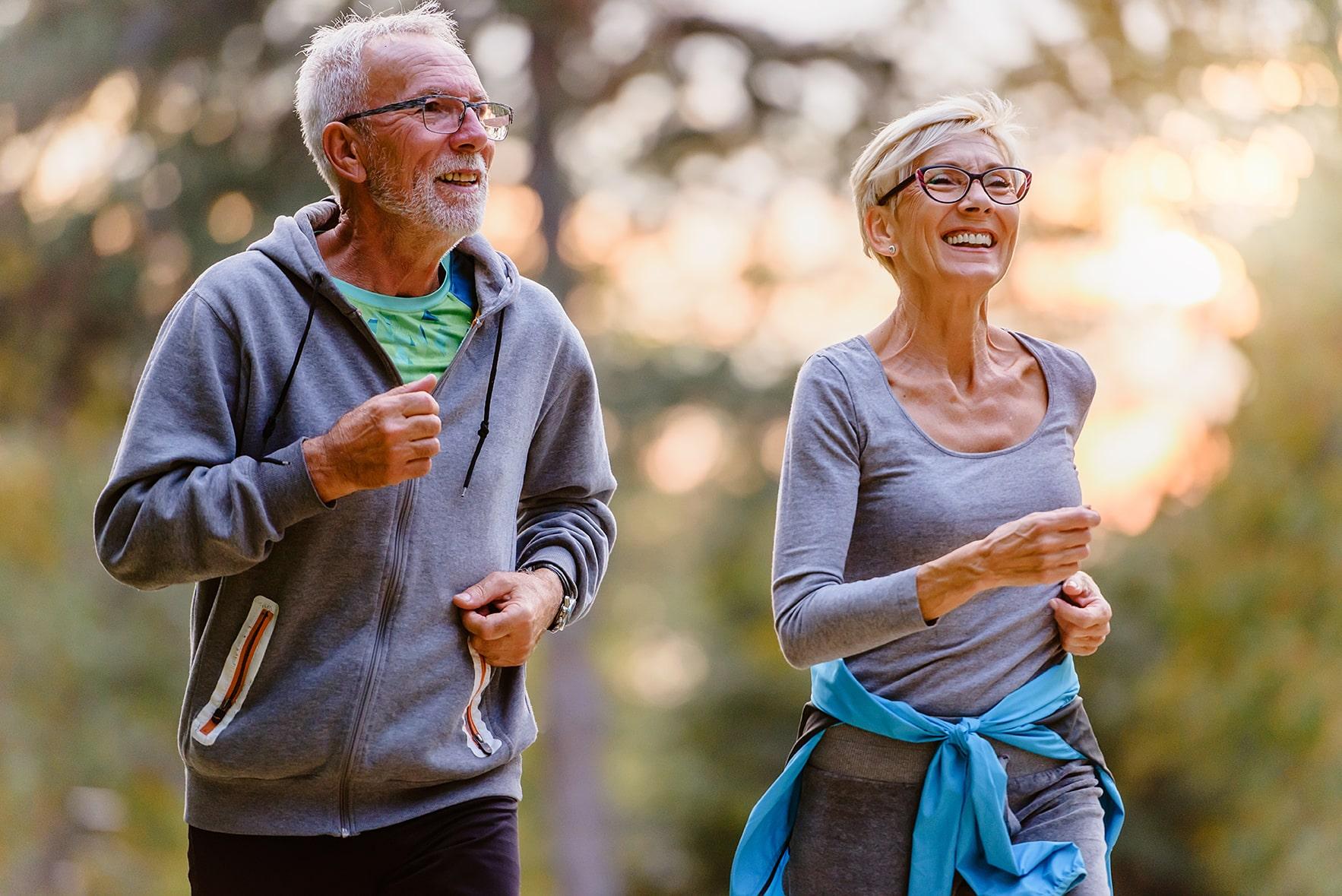 outdoor cheerful hikers on jog
