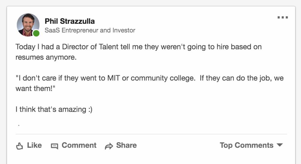 Screenshot of a viral LinkedIn post