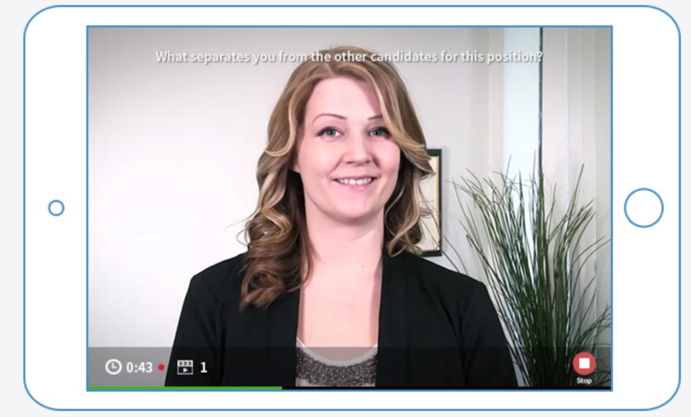 HireVue video interview demo screen