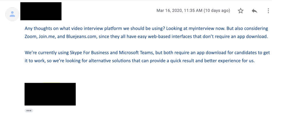 Screenshot of an email asking for video interviewing platform advise
