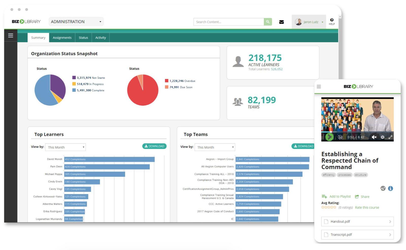 Bizlibrary software highlight internal hires