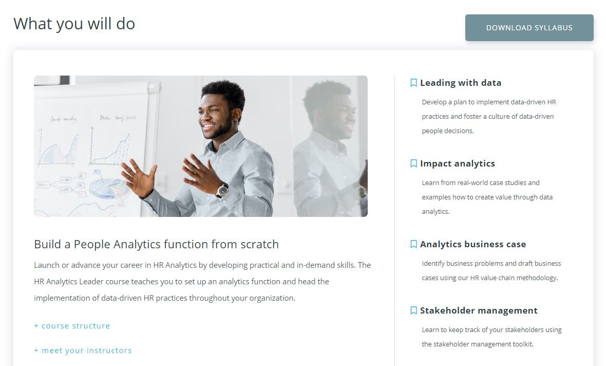 H Analytics Leader course