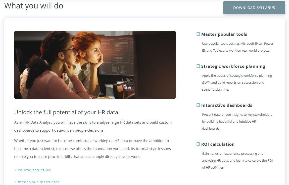 HR Data Analyst course