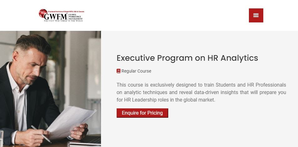 Executive program on HR analytics course