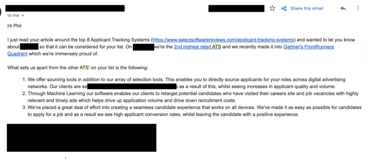 Screen shot of a vendor interested in being on SelectSoftware Revews