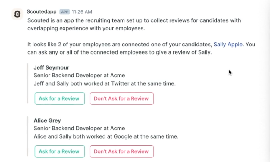 Screenshot of Scouted candidate review