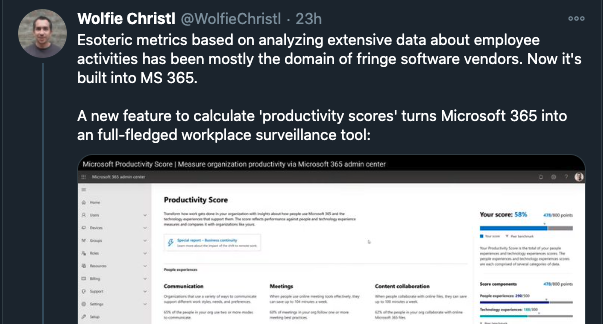 Screenshot of a Twitter thread explaining how esoteric metrics are built into MS 365 making it a workplace surveillance tool