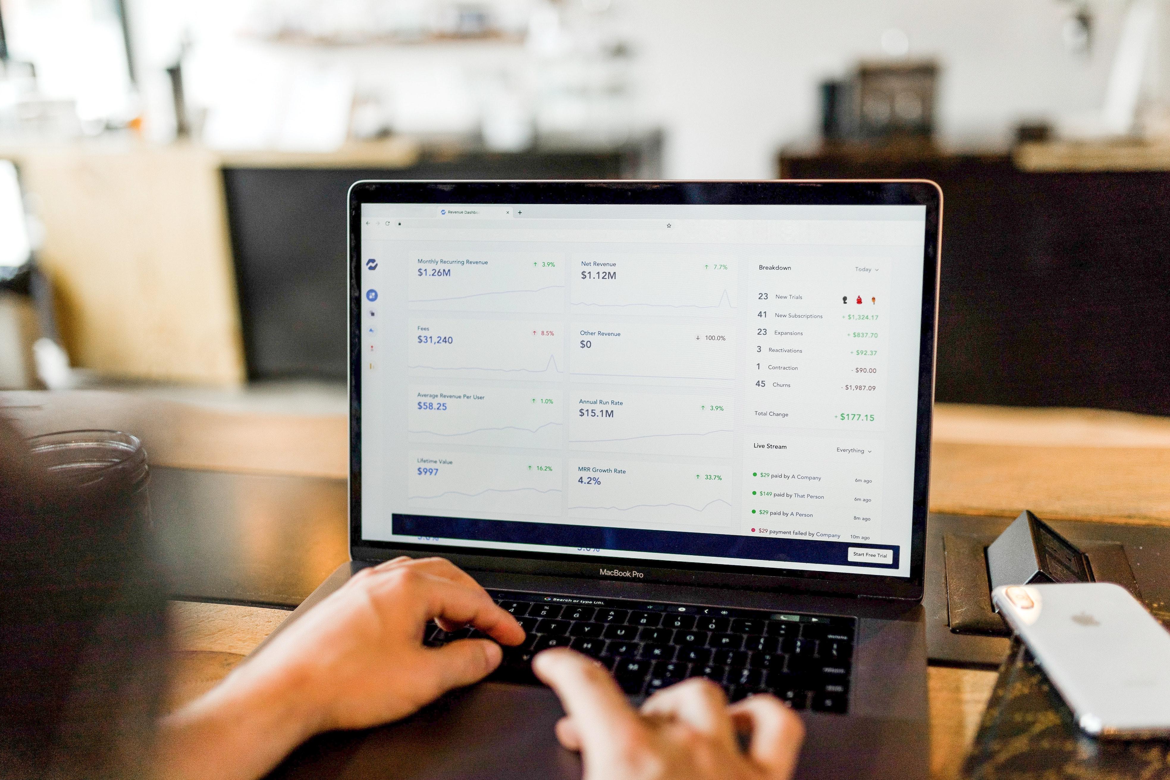 Human resource information system on laptop