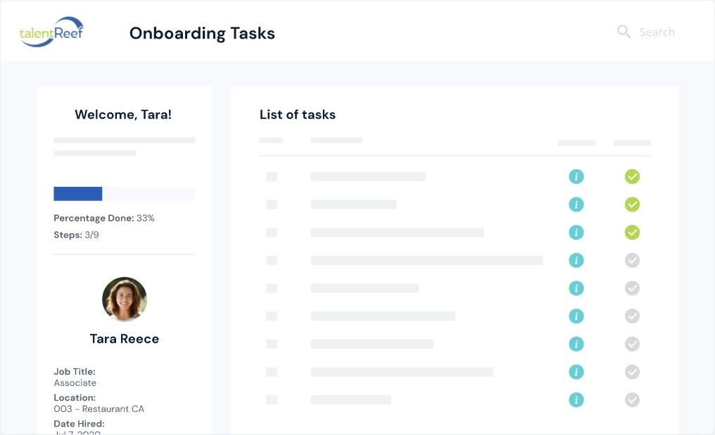 TalentReef Onboarding Tasks dashboard