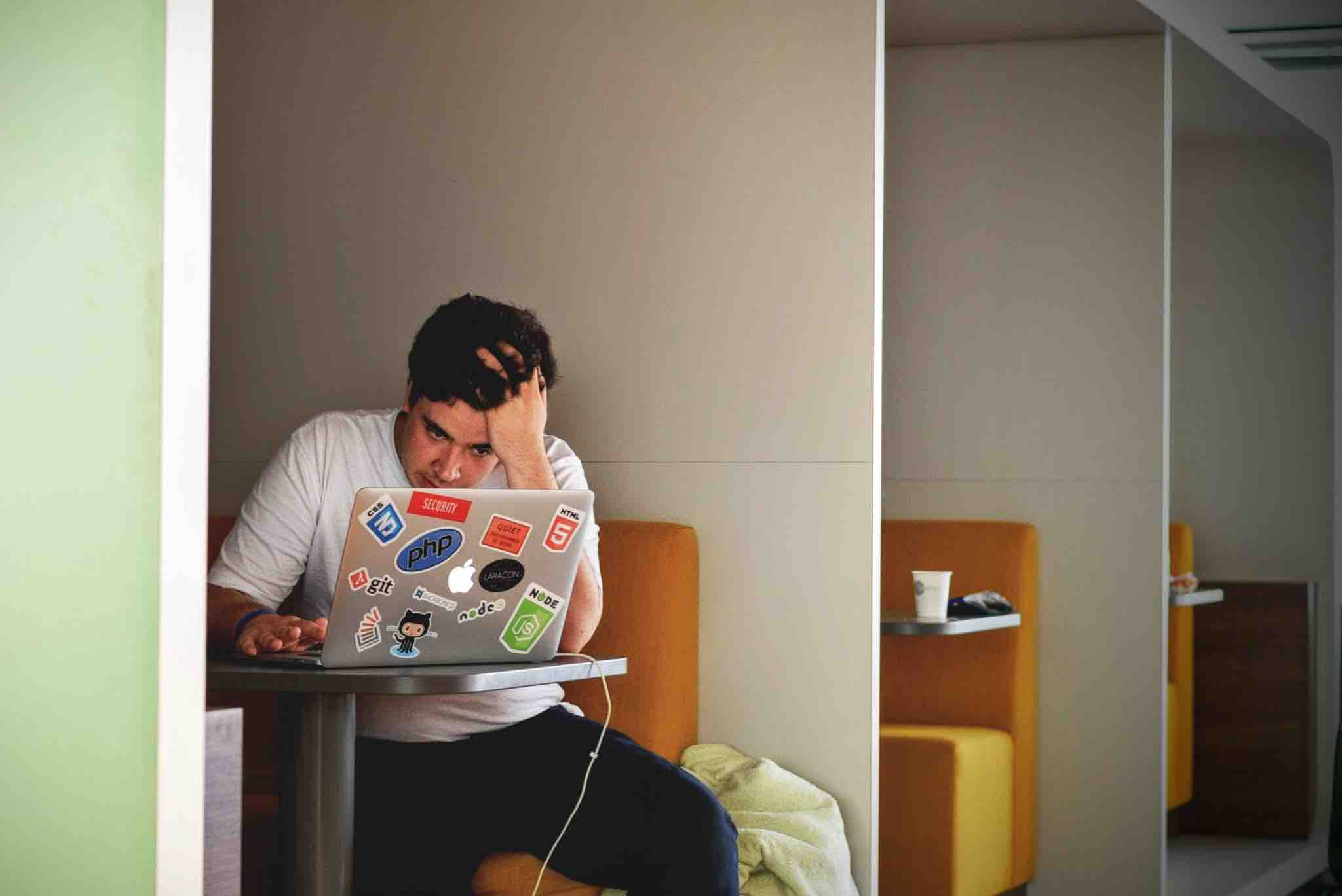 Frustrated and stressed remote worker
