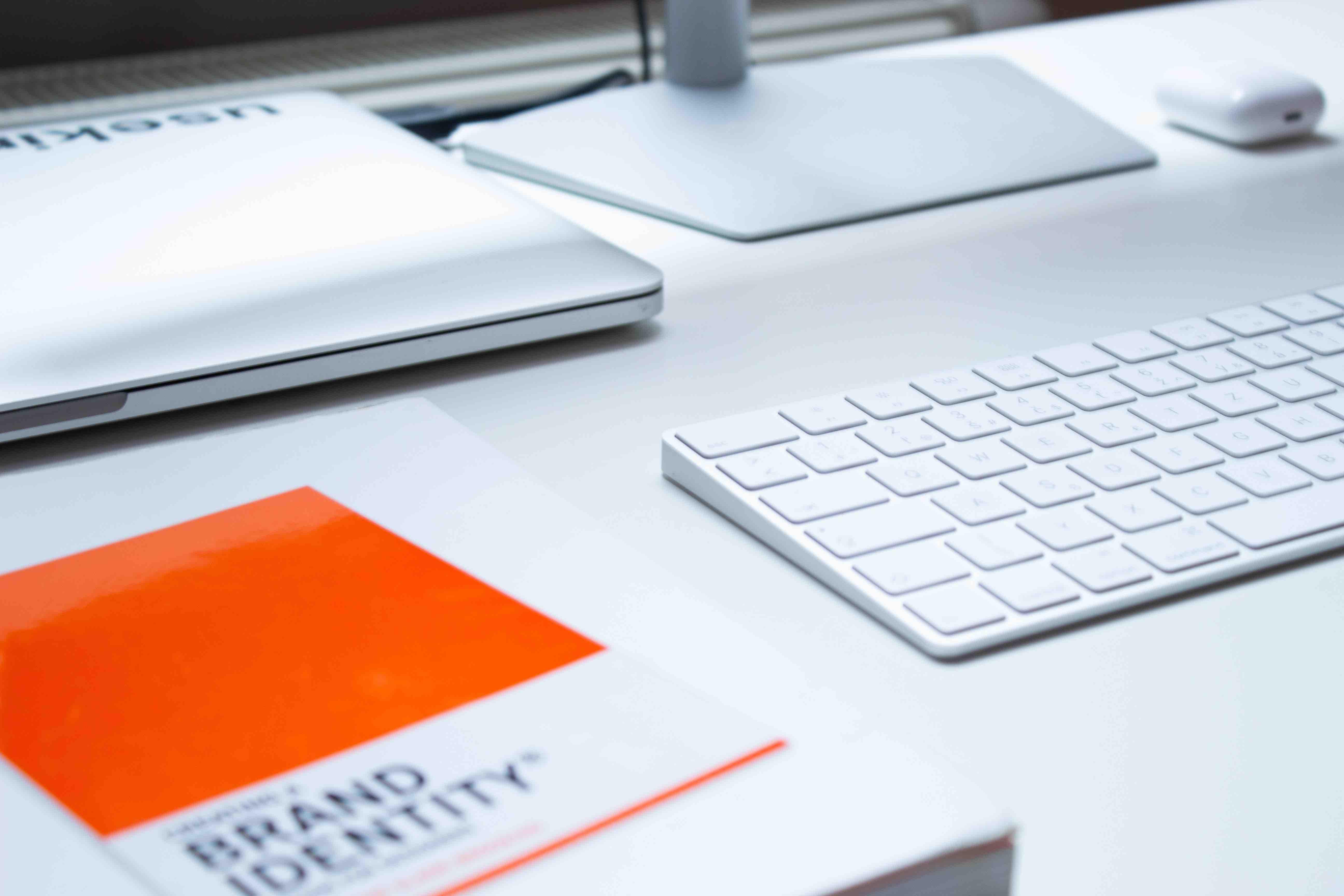 Branding manual on a desk
