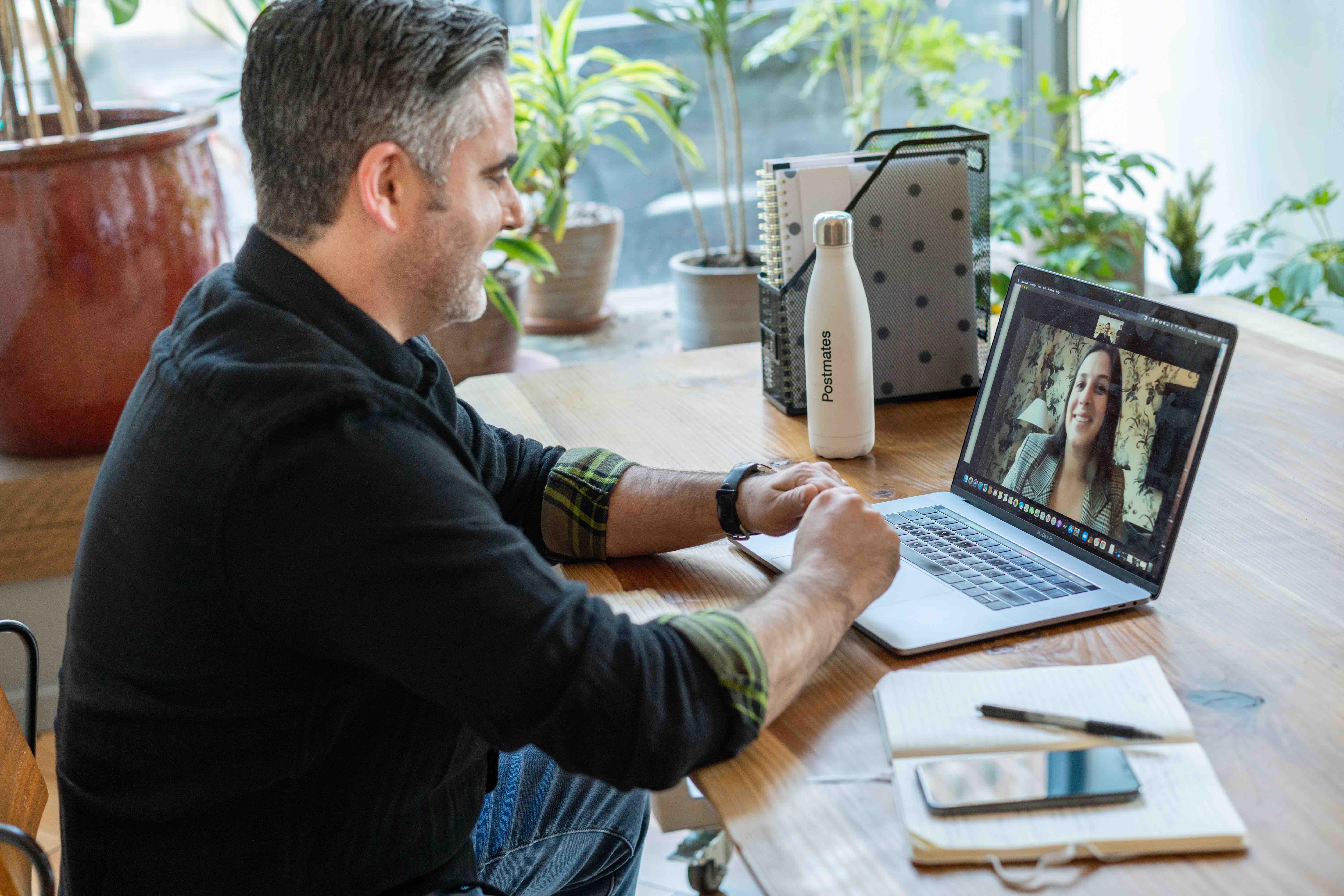 A recruiter screening a candidate virtually