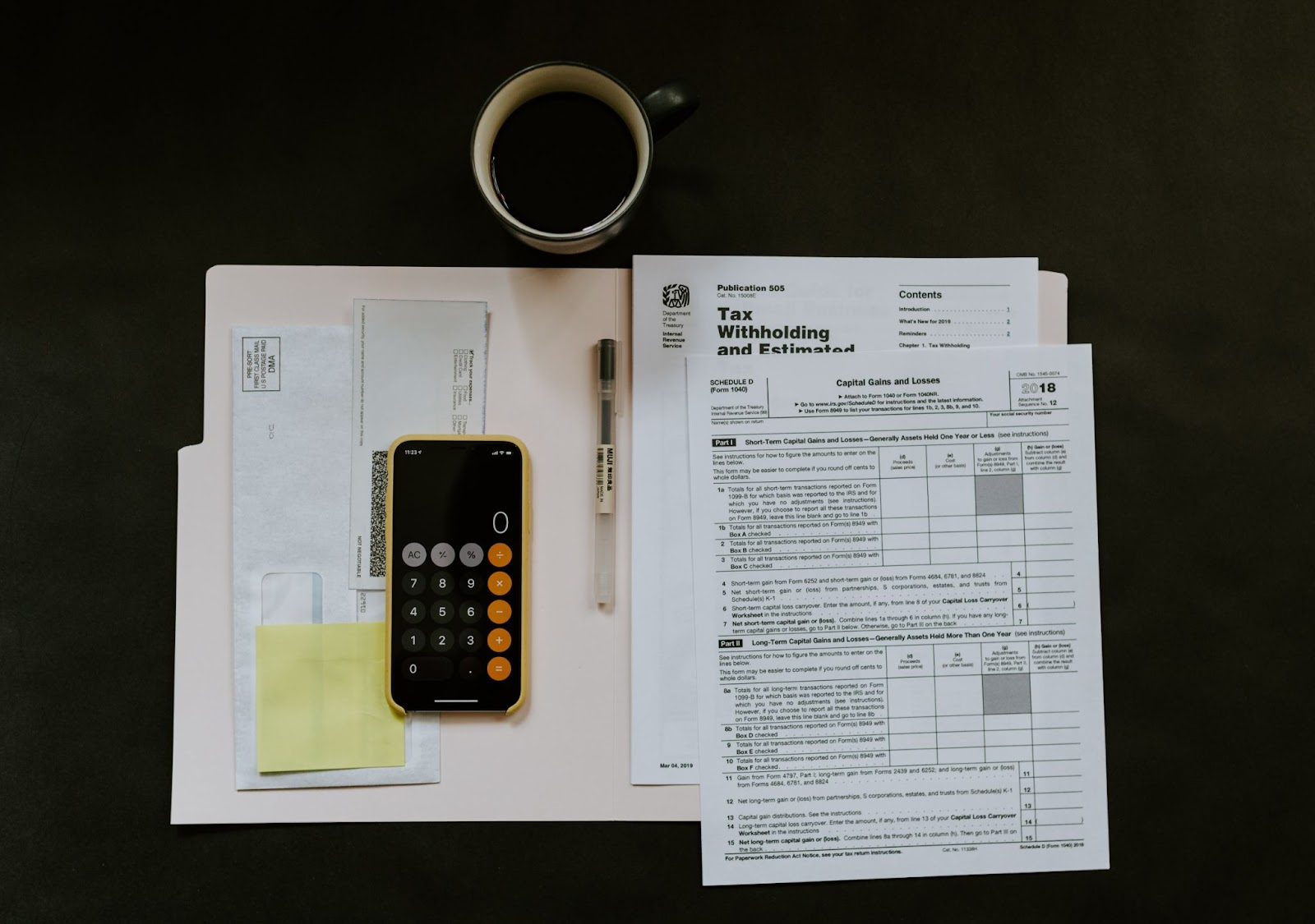 An employee file with tax forms