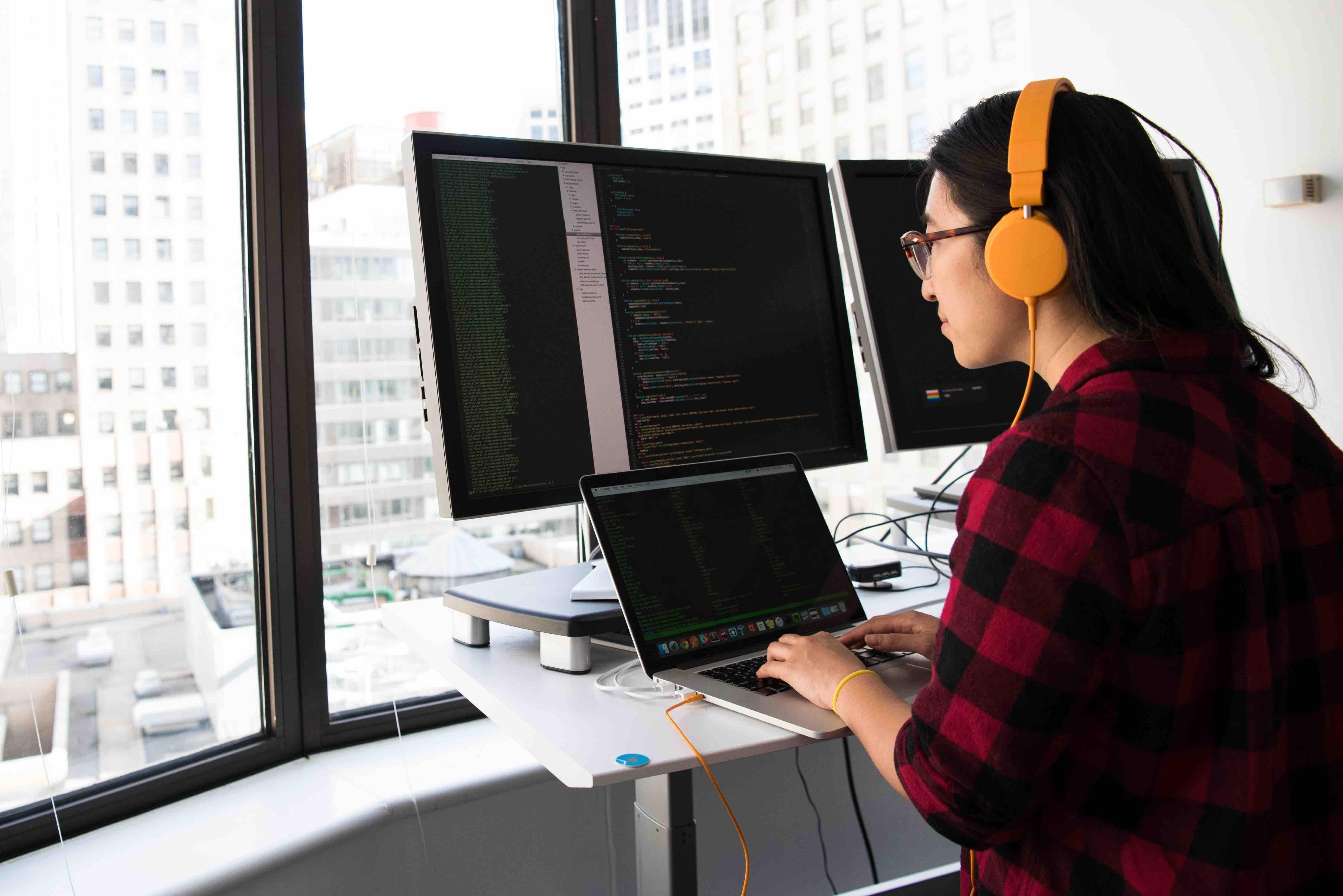 A software engineer working on desktop