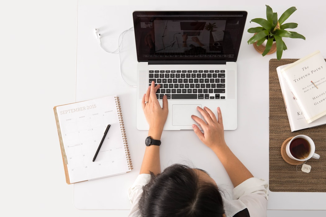 An employee using a computer