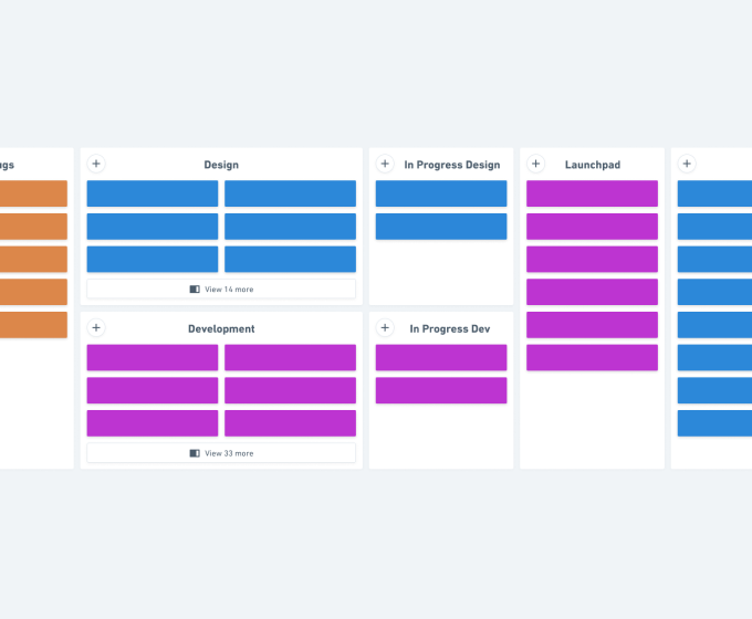 Kanban board built in Whimsical Sticky Notes for project management