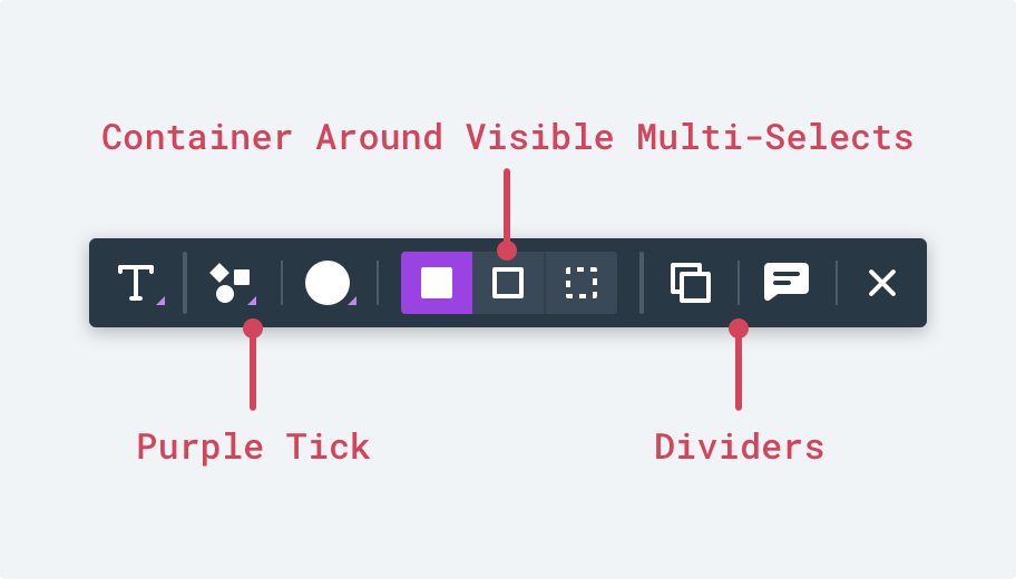 A subtle background shape is used to visually group together multi-select controls