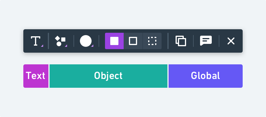Contextual toolbars for shapes have three categories of controls including Text, Object, and Global.