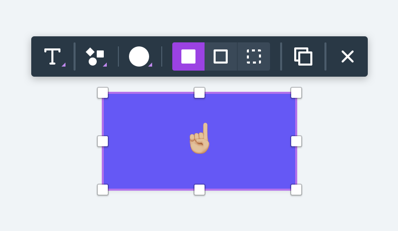Example of a contextual toolbar for a rectangle shape in Whimsical