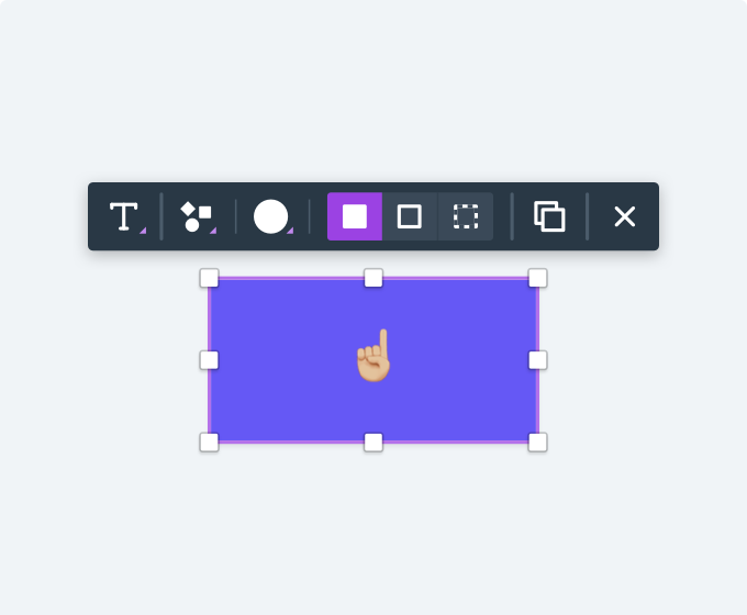 Example of a contextual toolbar, which is one of the things that makes Whimsical super fast to use