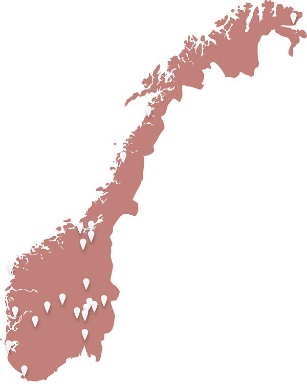 Kart over steder VilMer og MinMemoria er til stede