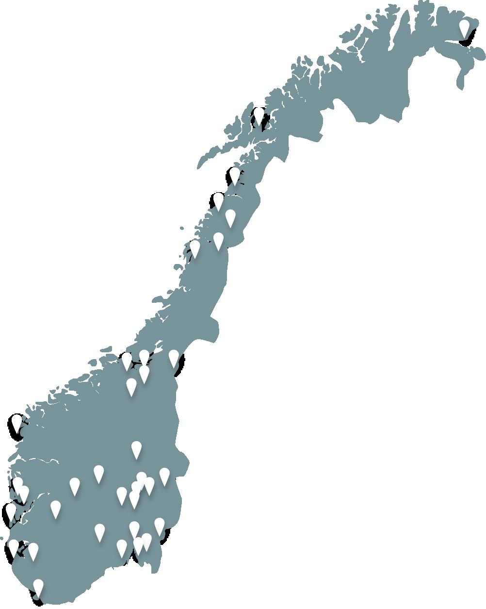 Illustrasjon. Norgeskart med uthevet lokasjoner.
