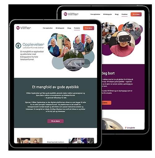 Bilder som representerer VilMers produkter: VilMer opplevelser, MinMemoria, Digitale opplevelser, VilMer VR og Triggo