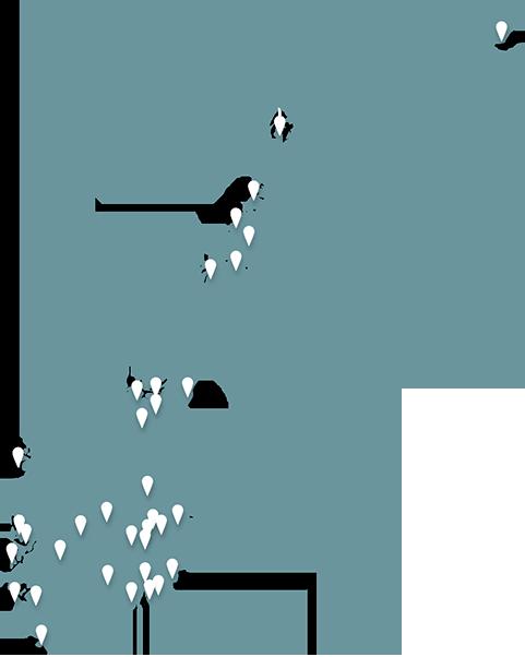 Kart over Norge med stedsnåler