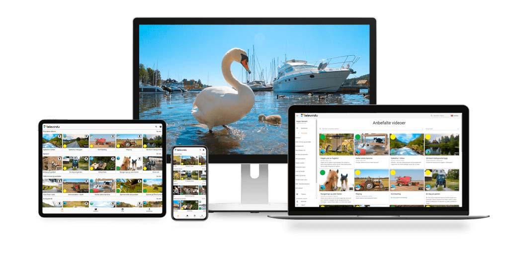Oppstilling av TV, PC, nettbrett og mobil med Televindu-plattformen