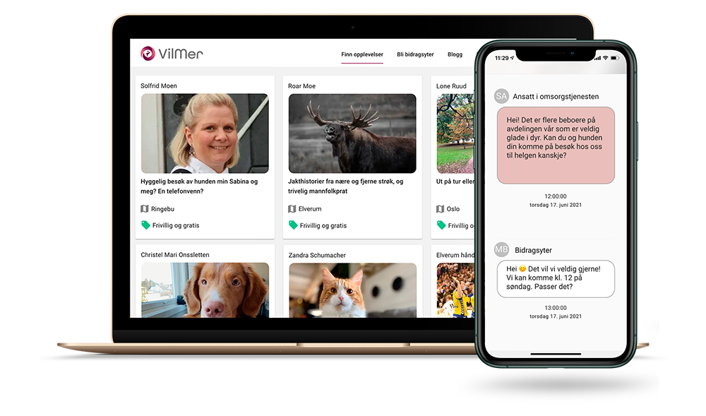Laptop som viser aktivitetsprofiler og en mobil som viser dialog mellom tilbyder og sykehjem