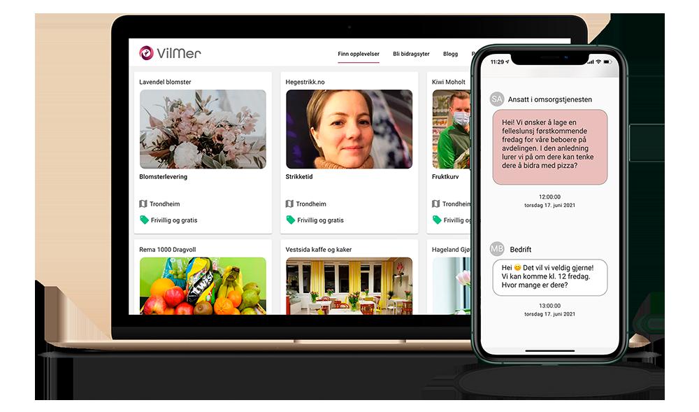 Laptop med bedriftsprofiler og en telefon som viser dialog mellom omsorgsavdeling og bedrift
