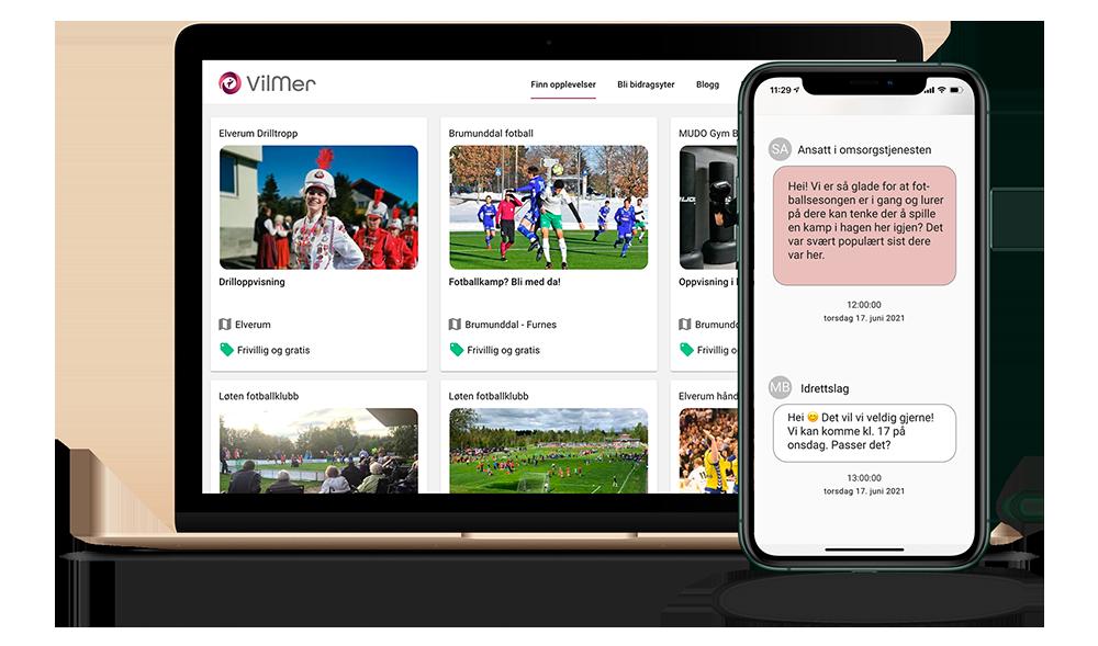Laptop med idrettslagprofiler og en telefon som viser dialog mellom omsorgsavdeling og bedrift