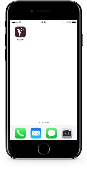 iPhone viser VilMer-ikon som snarvei på hjemskjermen