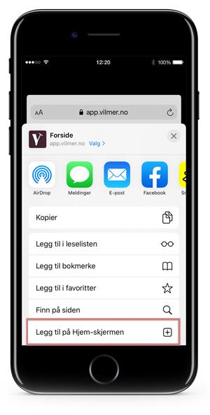 """iPhone som viser knappen """"Legg til på Hjem-skjerm"""" i delingsmenyen i Safari."""