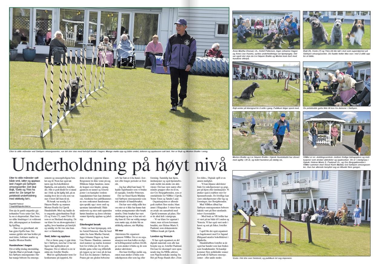 Avissider fra Gjøviks Blad som viser artikkel om agilityshow organisert av VilMer og Gjøvik hundeklubb
