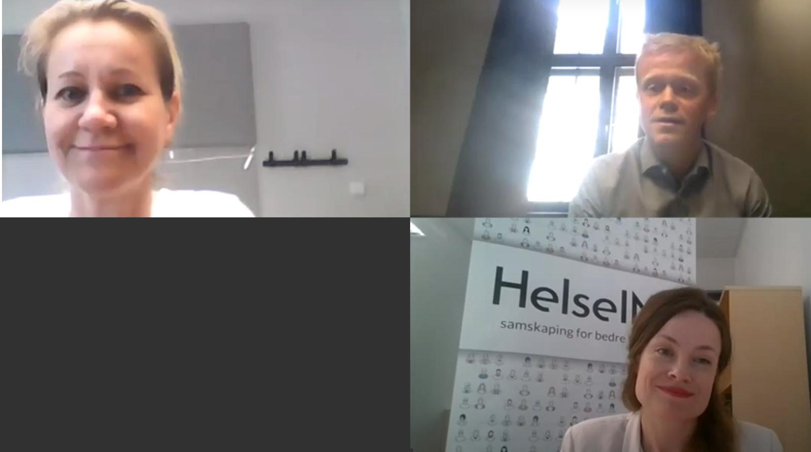 Skjermdump fra videosamtale mellom tre personer
