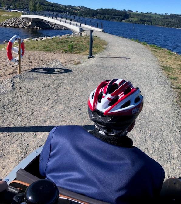 el-sykkeltur med passasjer ved mjøsparken