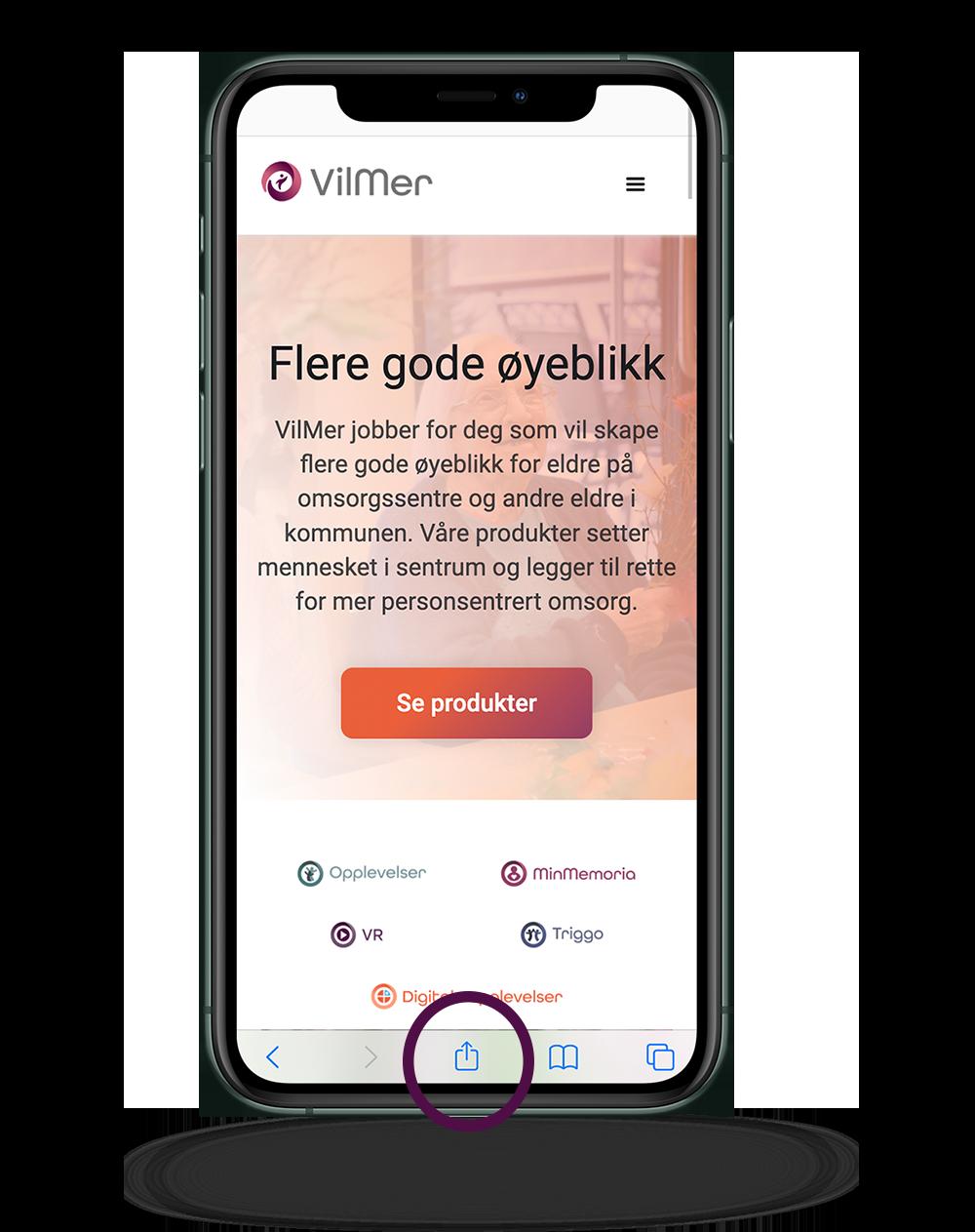 iPhone viser VilMers nettside i Safari, med markering rundt delingsikonet.