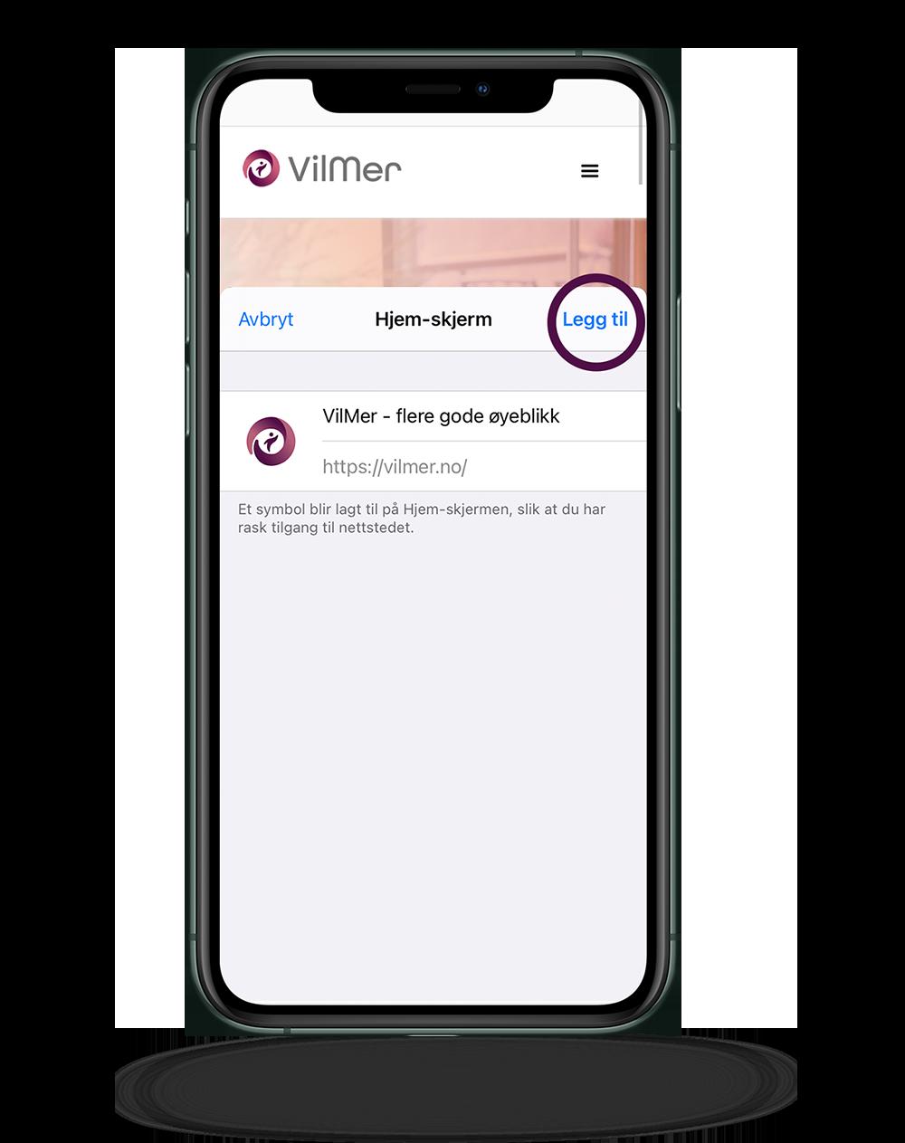 iPhone viser hvor man velger å legge til ikon på hjemskjerm fra Safari