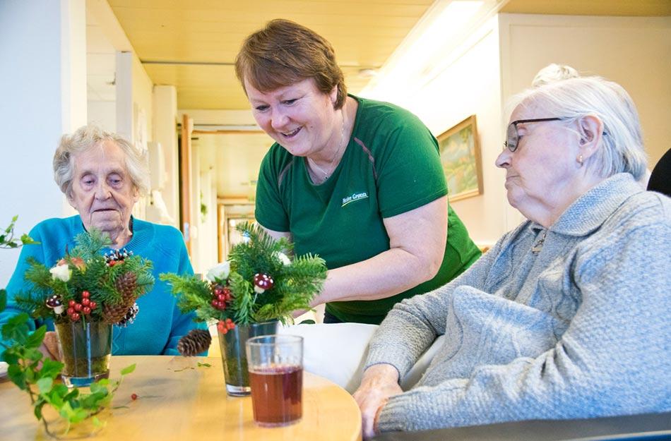 Foto fra aktivitet med Mester Grønn på Brumunddal sykehjem.