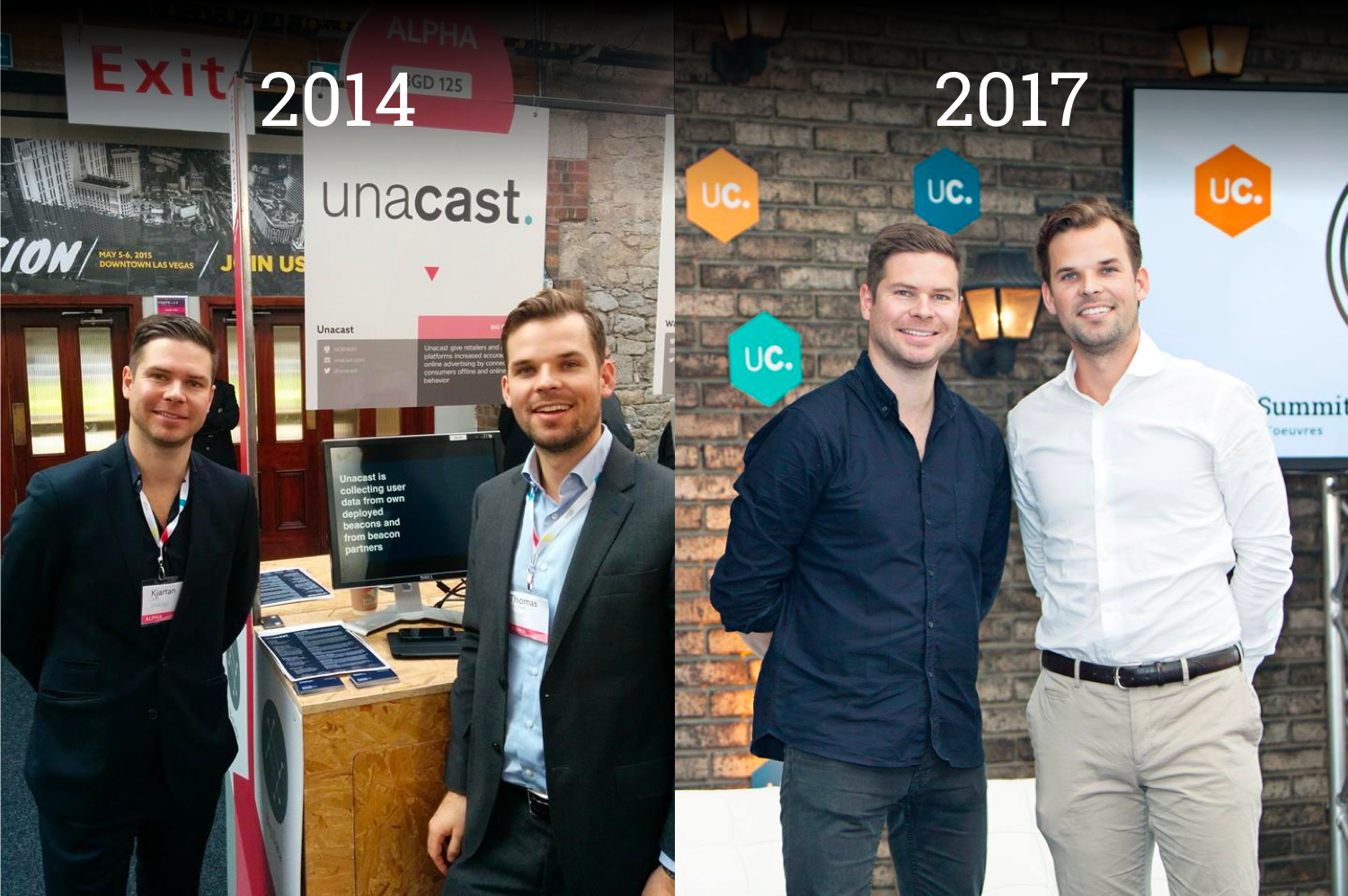 ‍Unacast Co-Founders Kjartan (KJ) Slette and Thomas Walle throughout the years